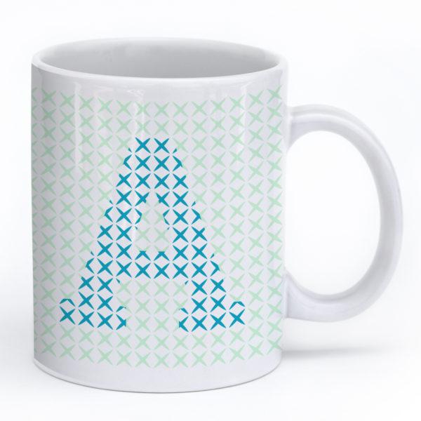 Cross Stitch Mug – Turquoise A